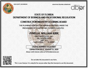 First Service Plumbing License